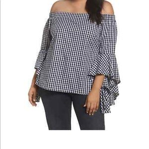 City Chic Bell sleeve plaid top